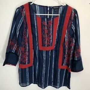 Lucky Brand Shirt Medium Blue Red Embroidered Lace